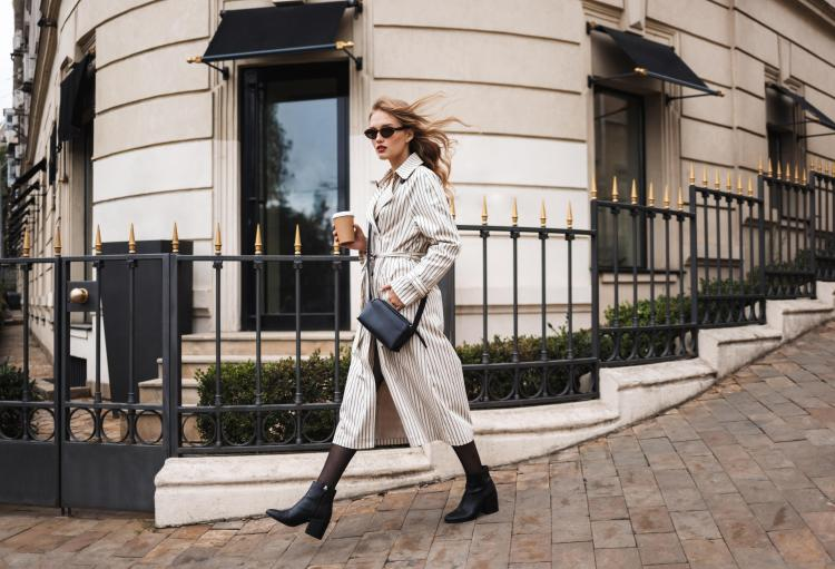 striped trench coat and sunglasses